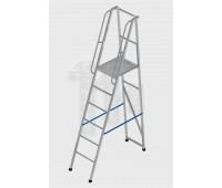 Лестница-платформа фиксированной высоты алюминиевая с резиновыми башмаками